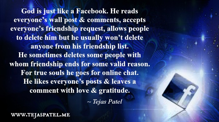 God is just like a Facebook